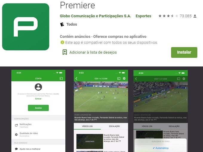 aplicativos para assistir futebol ao vivo: Premiere