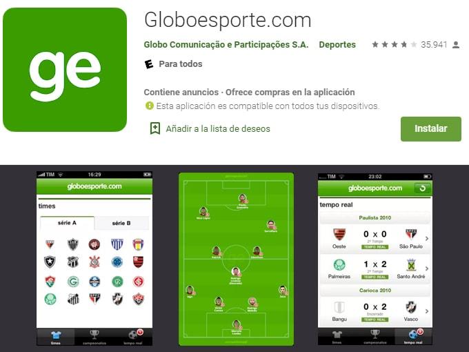 aplicativos para assistir futebol ao vivo: Globoesporte