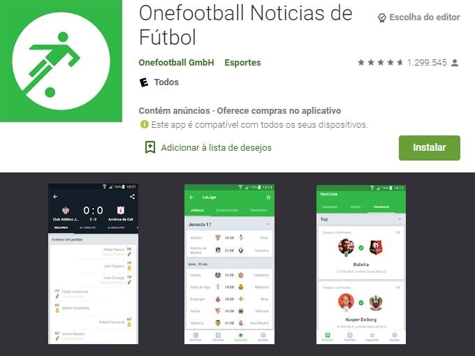 aplicativos para assistir futebol ao vivo: Onefootball
