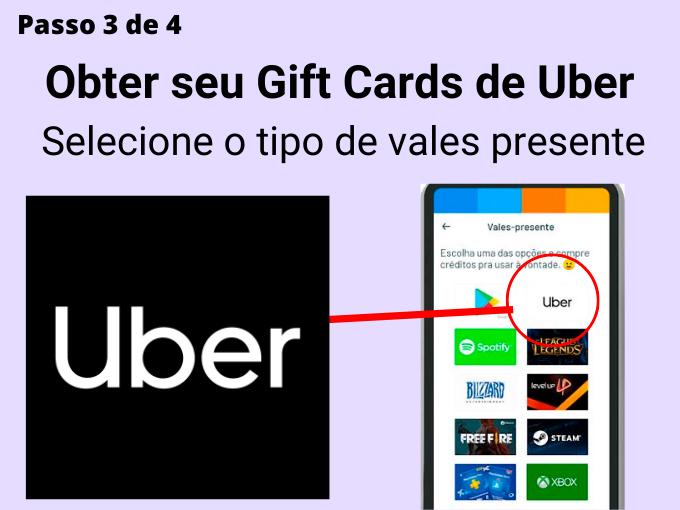 Passo 3 de 4 para Obter seu Gift Cards de Uber