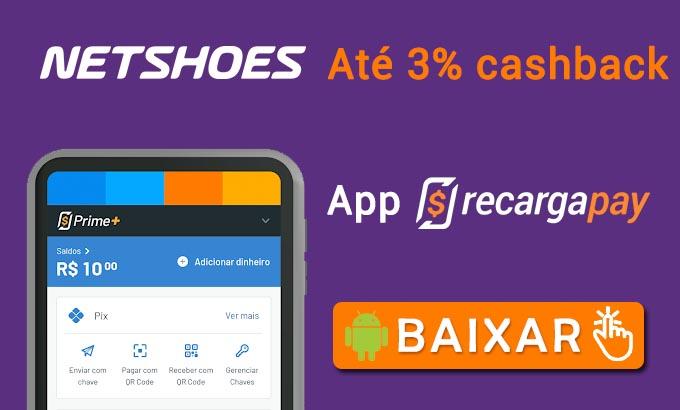 Baixe o app RecargaPay e obtenha Vales Presente Netshoes