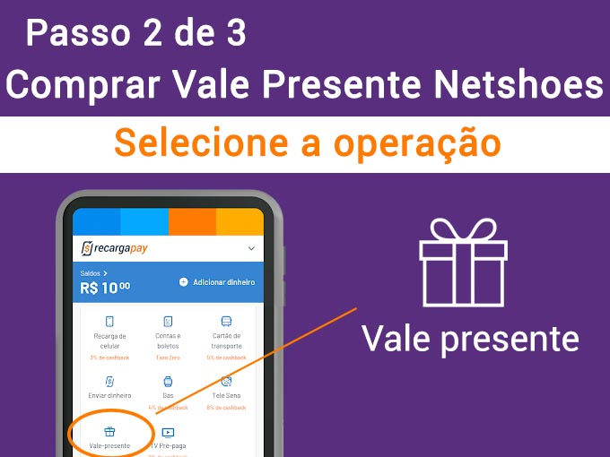Passo 2 de 3 comprar vale presente de Netshoe